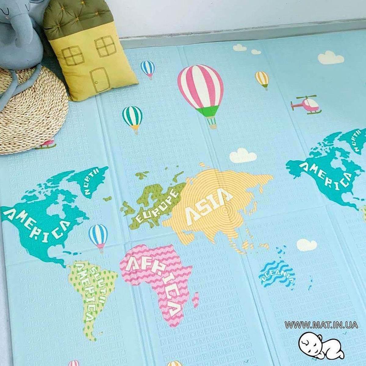 Напольнный детский коврик Рыбки-Карта мира